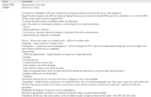 Tabela de regras de aceitação, contratação e documentação Sulamerica Saúde